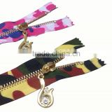 3#,4#,5#,8#,10# printing design brass zipper, auto lock custom zipper,Metal zipper