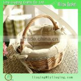 Wholesale Rustic small miniature round Fabric lined wicker willow picnic basket hamper with handle Fruit Holiday Gift Basket