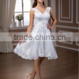 Short Wedding Dress / Bridal Gown with hand-beading lace