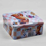 cute bear printing cookie set square tin box for packing                                                                         Quality Choice