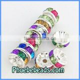 Wholesale 8mm Spacer Beads Multicolor Acrylic Crystal Rhinestone Pave Rondelle Alloy Findings For DIY Jewelry Making RRS-B003A