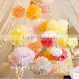 Tissue paper Pom Poms flower ball for indian wedding decoration pots                                                                         Quality Choice