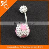 beautiful belly button rings, wholesale China factory body jewelry, charm navel rings with double gems balls