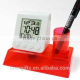 Fancy New Design Desktop Water Power Calendar And LED Digital Alarm Clock With Pen Holder