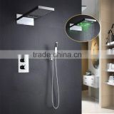 stainless steel led rainfall shower panel set 2 function showerhead rain and waterfall with led light