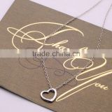 Cheap Bulk 2016 Hot Sale Necklace Jewelry Long Chain Silver Plated Heart Pendant Necklace For Lover/