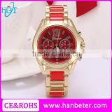 Best new year gift watches red dial fashion ladies wholesale geneva watches with diamond