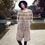 Real Natural Mink and Kalgan Patchwork Fur Coat for Elegant Women