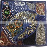 Beads Sequins Embroidered vintage sari patchwork Cushion covers Indian Traditional Decorative pillow covers