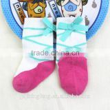 Wholesale long lovely baby socks with beautiful bowknot made of cotton soft and breathable
