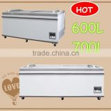 2016 NEW 600L 700L commercial display showcase combined chest freezer supermarket island freezer