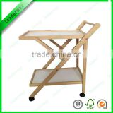 New design foable wooden hotel wine trolley/ liquor cart/ wine service cart