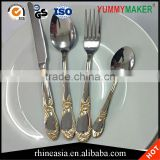 Gold Plated Stainless Steel Flatware Cutlery Set wedding Knives Fork Spoon