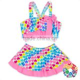2017 summer swimwear baby girls boutique clothing colorful love print kids girls bathing suits