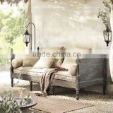 Deconstructed Old World Style Unadorned Daybed of Vintage Savaged Solid Wood and Linen BF11-07263c