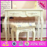 2016 Best sale luxurious bedroom table and chair wooden vanity furniture W08G191