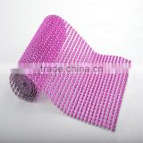 10Yard MOQ Hot Pink 24 Rows Plastic Rhinestone Mesh For Wedding