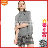 Latest design roll neck sleeveless lady's cashmere cape sweater