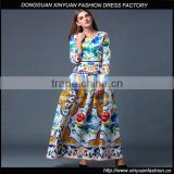 Women Long Sleeve Floral Printed Beach Maxi Dress Ladies Plus Size Party Cocktail Dresses