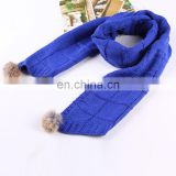 Fashion style winter baby kids neck warmer real rabbit fur ball child scarf