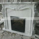 electric fireplace with white marble fireplace