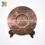 JiaBo custom antique color plate thin metal tourist souvenir plate