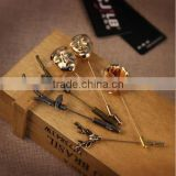 Men Vintage Deer Elk Antler Stag Floral Bird Mask Lapel Stick Pin Tie Hat Brooch