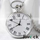 Antique Silver Roma Number Hollow White Dail Quartz Pocket Watch Clock Gift                                                                         Quality Choice