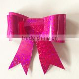 Plastic Fancy Gift Ribbon Butterfly Bow /Glitter PET Ribbon Bow WITH Elastic Band
