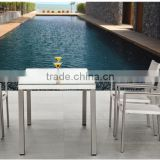 Brunei 2015 Elgent white outdoor/patio/Hotel Brushed Aluminum dining chair and table yard/lawn furniture