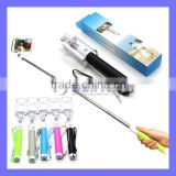 Extendable Wired Flexible Remote Shutter Handheld Selfie Stick Monopod For iPhone HTC Blackberry