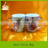 round shape porcelain tea / beer mug with bird printing, unique designs tea cup, big coffee mug