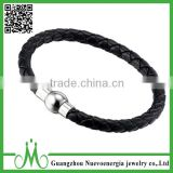 Beauty Bead Design Stainless Steel Magnetic Clasp Simple PU Leather Men Bracelet Braided Bangle