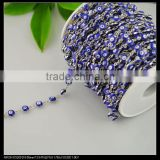 LFD-0022C ~ Wholesale 6MM Rosary Style Chains in Deep Blue Color - Evil Beaded Wire Wrapped Beaded Chain Jewelry Making