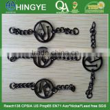 Gunmetal Color Badges with Chain For Clothing -- B1412002