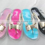 2016 Newest design flats ladies shoes pvc jelly sandals with fashion buckles cheap plastic wholesale shoes flip flops