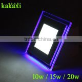 Double Color LED Panel Light 10W 15W 20W Blue+White/Warm White Ultrathin Square LED Ceiling Lamp