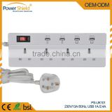 Made in China Top quality Electrical power socket 230V 16A UK plug 4 Gang 1way with CE approval