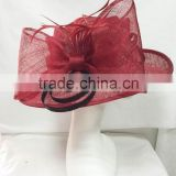 Sinamay hat/Church hat/Derby hat/Kentucky hat/Wedding hat/Party hat-Red/black