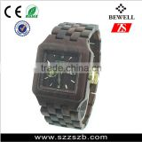 Fashion watches water resistant wooden watch with stainless steel case back and skeleton automatic mechanical watch
