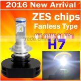 2016 Automotive lights New Product Led Headlight Kit H7 30W 3000LM with 6pcs LEDs auto led headlamp with ZES chips