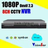 CCTV dvr 1080P H.264 8CH NVR network P2p Onvif Standalone video recorder surveillance system