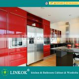 Linkok Furniture cherry solid lacquer kitchen cabinet and china furniture factory and marble top kitchen cabinet