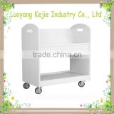 Electrostatic Powder Coating steel library book trolley book carrier useful acrylic book cart with rolling casters