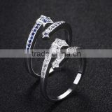 white copper five star open ring blue gemstone setting finger ring new model wedding ring