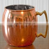 Copper Metal Tableware Beer Mug,Tankard With Brass Handle,Moscow Mule Mugs