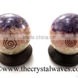 Rose Amethyst Crystal Chips Layered Orgone Ball / Sphere