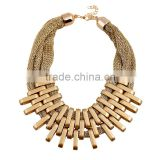 2015 Fashion Jewelry big exaggerated multilayer golden tassels cotton rope necklace