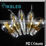 Factory sale 110v/220v constant current driver UL dimmable LED filament bulb candle 1.8W 3W 4W 5W 6W 7W 8W