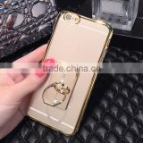 TPU finger ring holder tpu cover case cell phone case with electroplate ring holder for iphone